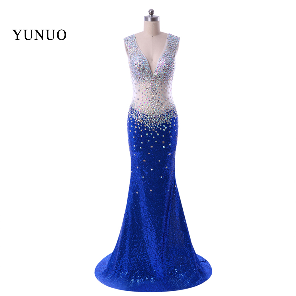 2019 Sparkly Formal Women Dresses New Arrival Mermaid Evening Dress Long Sequines Blue Real Photo Sweep Train Custom x11252