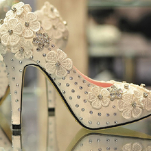 Frühling und herbst arbeiten frauen Party Prom Kleid Schuhe Spitze 4 Zoll ferse plattform hochhackigen Satin White Wedding schuhe
