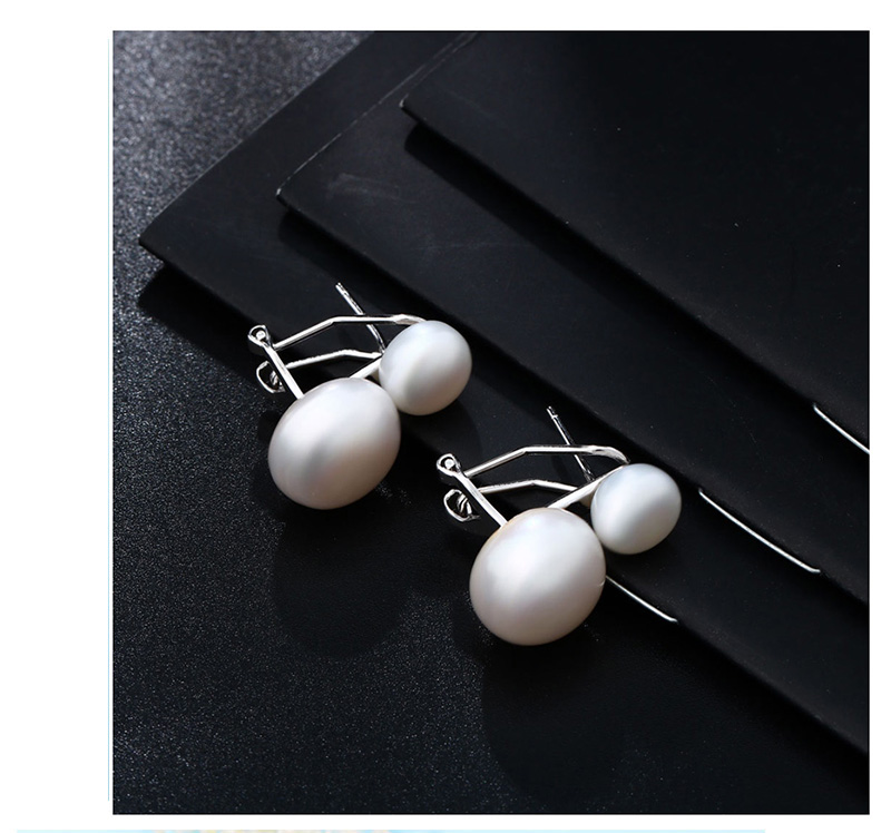 HTB1oYMfajzuK1Rjy0Fpq6yEpFXaZ Hongye Natural Freshwater Pearl Earrings 925 Sterling Silver jewelry Double White Pearl Stud Earring for Women Wedding Gift