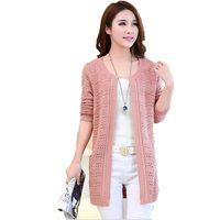New 2017 Autumn Korean Style Women SweaterA Long Sleeve Female Fashion Long Section Knitwear Hollow Lace