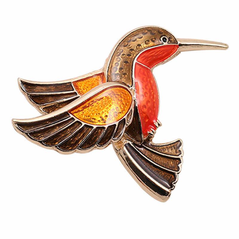Chất lượng cao cấp cổ điển màu Nhỏ Giọt edhumming chim trâm Chim Mô Hình Phần Trên Áo Đàn Bà Tay Nhỏ Giọt Hummingbird Trâm Cài Phụ Kiện