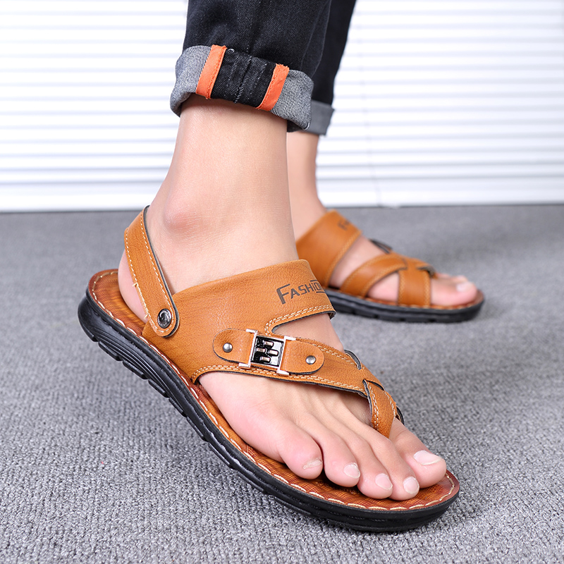 480121207e19 ... mens sandals 2018 summer outdoor beach slide sandals leather shoes  luxury brand fashion breathable casual male