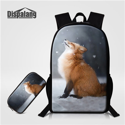 d67a19aadd8 Dispalang 2pcs Set School Bag Fox 3D Printing School Backpack Pencil Case  Bag Combination Bookbag Primary Student Daily Backpack