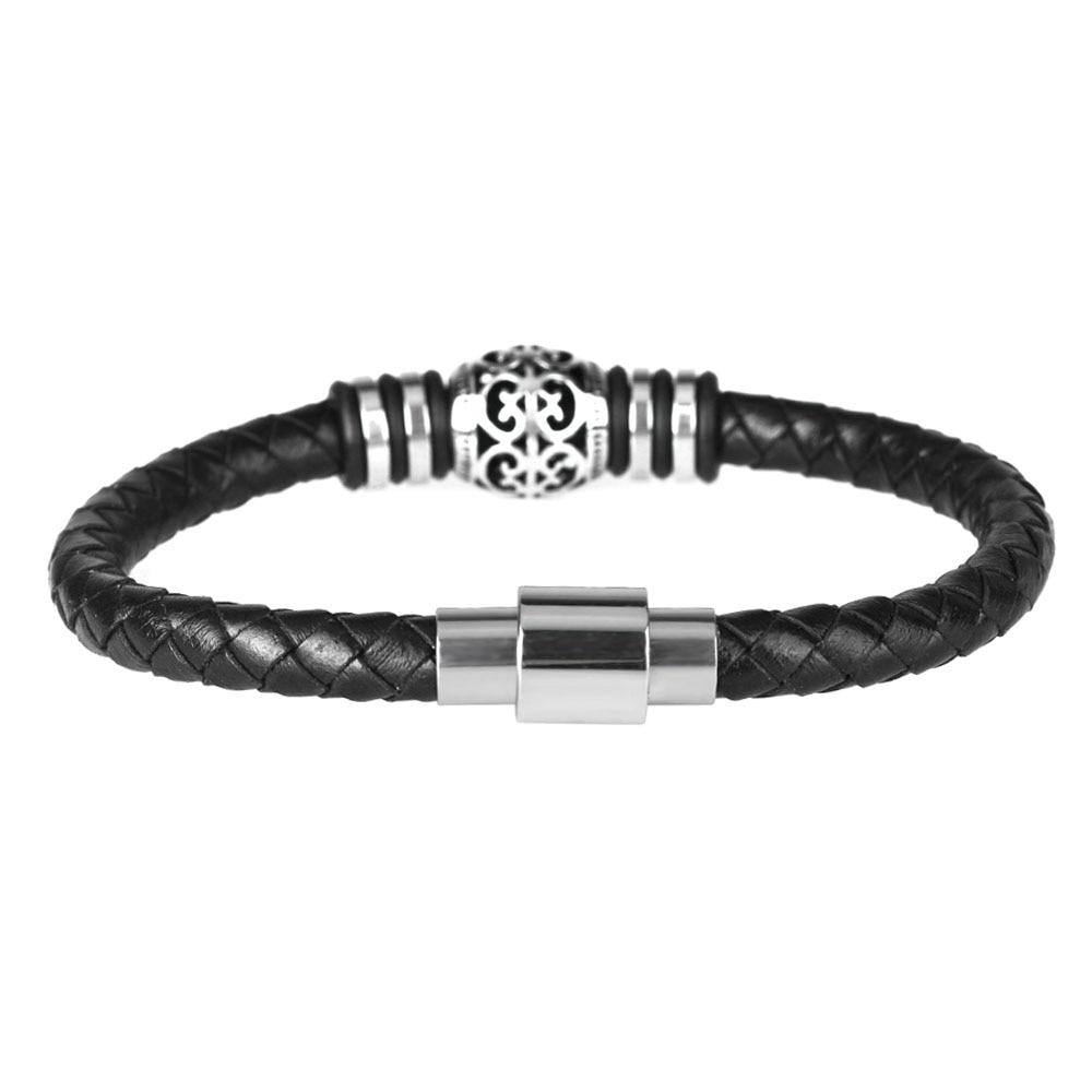 Kirykle Punk hommes bracelet décontracté és en cuir noir Bracelet en acier inoxydable Bracelets en cuir de vache à la main bracelet perlé 2