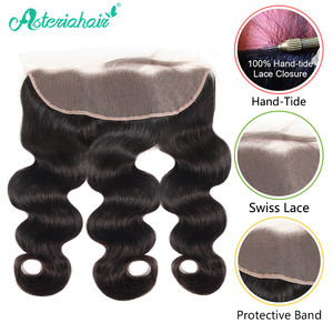 Mechones de onda brasileña con Frontal Pre desplumado 3 uds mechones de cabello humano postizo con cierre Frontal de encaje cabello Remy