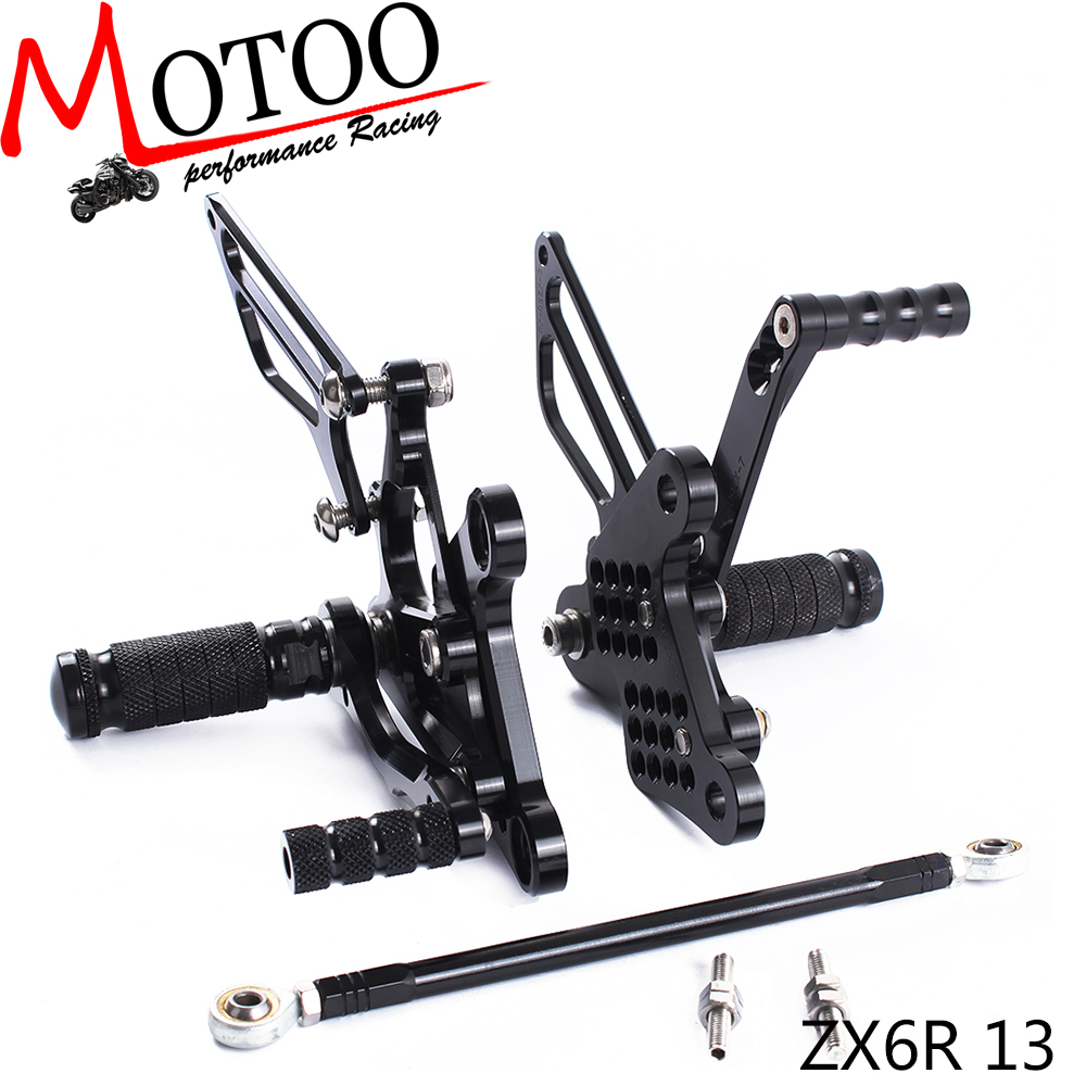 Motoo - Full CNC Aluminum Motorcycle Adjustable Rearsets Rear Sets Foot Pegs For KAWASAKI ZX6R ZX-6R 2013-2015