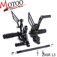 Motoo Full CNC Aluminum Motorcycle Adjustable Rearsets Rear Sets Foot Pegs For KAWASAKI ZX6R ZX 6R 2013 2015