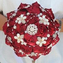 Customized 18CM Dark Red Silk Rose Wedding Bouquet Rhinestone Pearl Bridal White Ribbon Bridesmaid