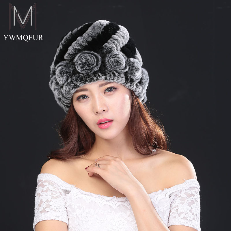 Winter hats for women new pineapple flower type rex rabbit real fur female caps hat with ears