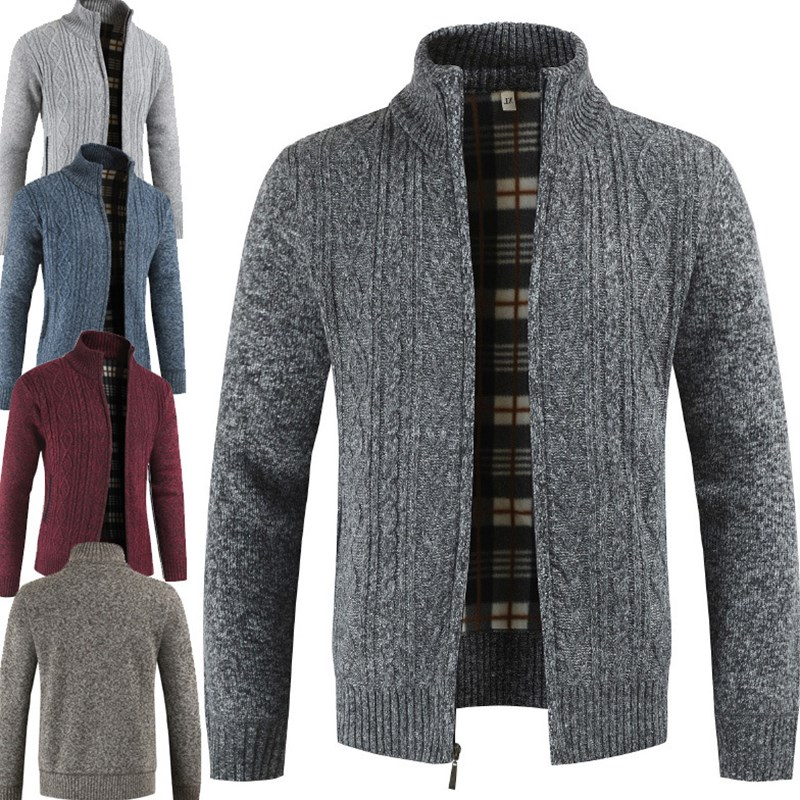 Men Stand Collar Warmth Zipper Sweater Hooded Brand Male Long Sleeve Clothing Cardigan Winter Wool Knit Coat Plus Size 3XL