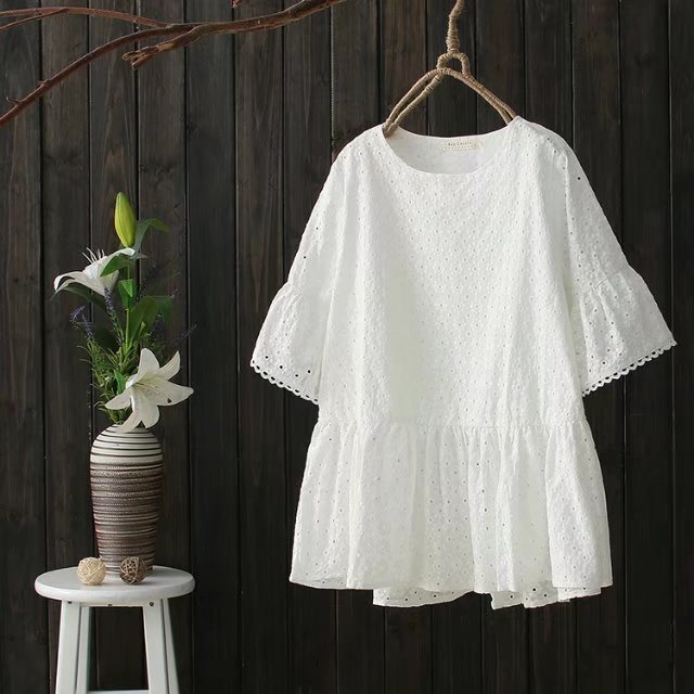 9c3f07ac788 Mori Girl Cotton Linen Loose Embroidery Hollow Out Summer Shirt Hippie Boho  O-neck Short Sleeve Blouse Chemise Femme Ladies Tops