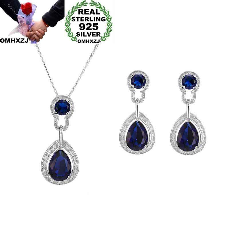 OMHXZJ Wholesale European Fashion Woman Girl Party Wedding Gift Zircon 925 Sterling Silver Earrings+Necklace Jewelry Set JE18