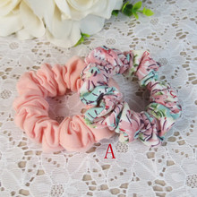 2Pcs/pack 100%Cotton Knitting Printed Hair Scrunchies For Girls Candy Color Elastics Hairround Childrens Decoration for the hair