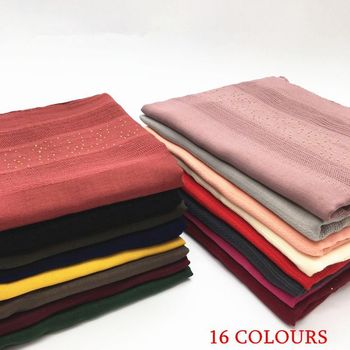 10pcs Cotton Solid Color Hollow Women Scarves With  Gold Diamond Islamic Muslim Hijabs Shawl Plain Malaysia Headscarf 90*180CM new cotton women scarf solid color crumple retro scarves with short tassels 180cm big shawls muslim female hijabs