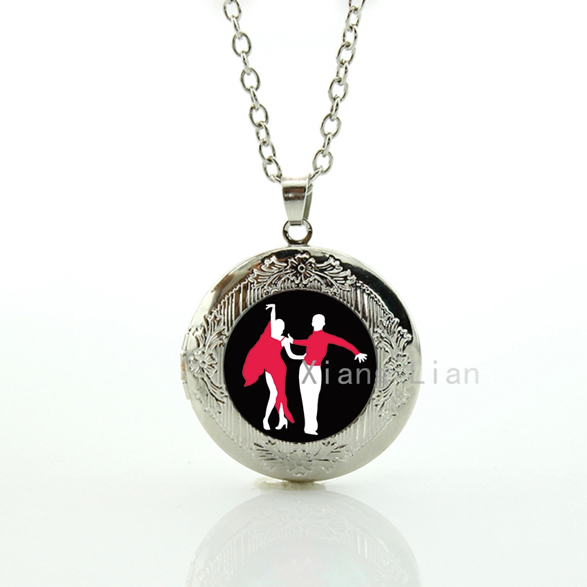 Most popular International Style of Ballroom Dancing pendant locket necklace charm Latin Dance dancers women jewelry gift DC043(China)