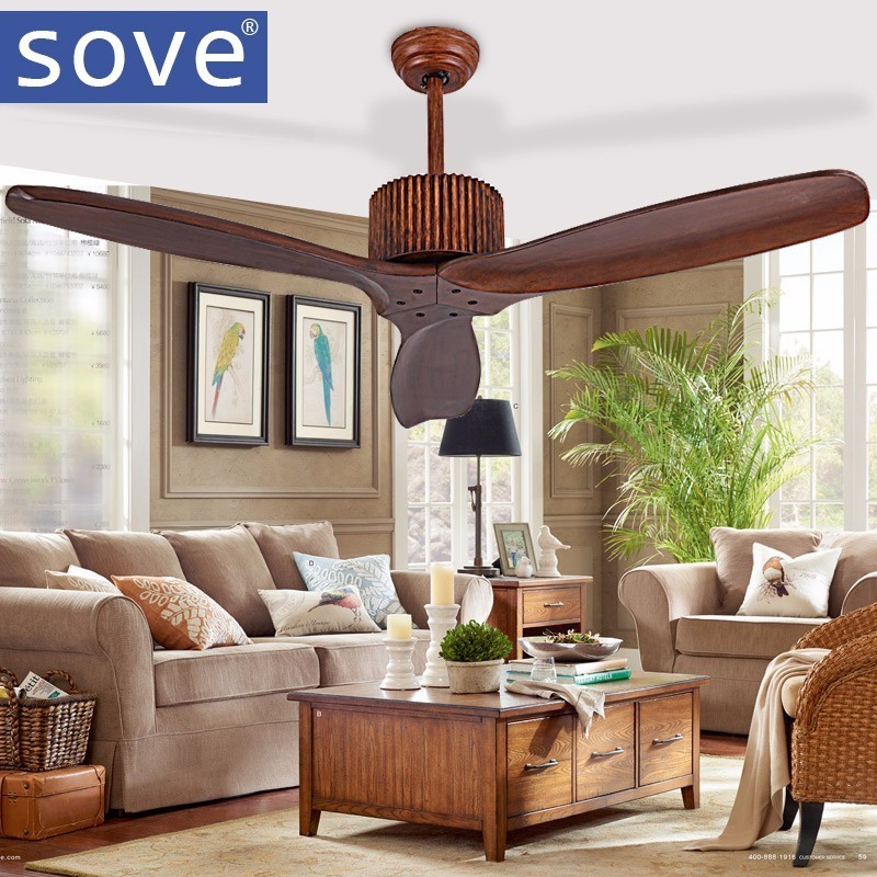 Sove European Modern Wooden Ceiling Fan With Remote Control Living room Bedroom Dining Room Attic Without Light Fan 220 Volt Fan