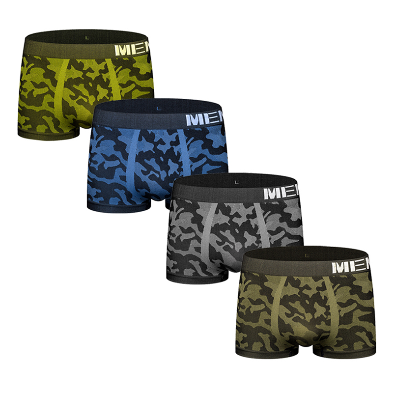 4Pcs/Lot Camouflage Sexy Men Underwear Boxer Shorts Seamless Men's Underwear Boxers Male Panties Underpants Under Wear M0039