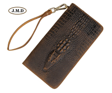 J.M.D Genuine Leather Long Purse Fashion Design Wallet Crocodile Pattern Men's New Style Business Card Holder Clutch Bag 8068R 2018 card holder personalityleather standard wallet new limited edition leather personalized design classic mafia pattern ha
