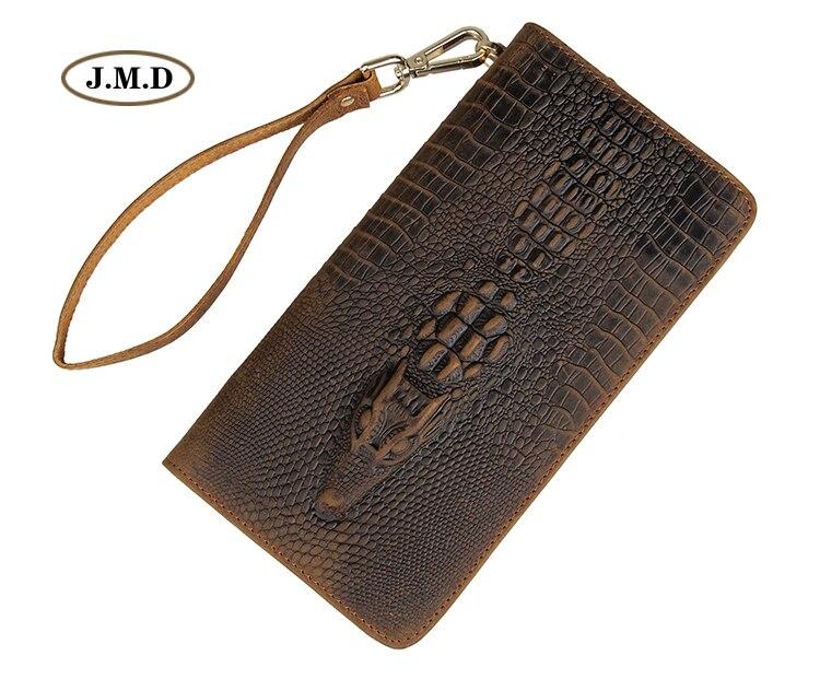 J.M.D Genuine Leather Long Purse Fashion Design Wallet Crocodile Pattern Men's New Style Business Card Holder Clutch Bag 8068R