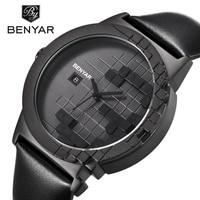 BENYAR Brand Luxury Quartz Dress Watch Waterproof Leather Creative Design Auto Date Fashion Casual Men Watches