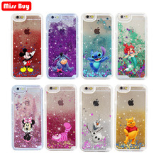 Cartoon Mickey Minnie Case for iPhone 6 6s 7 8 Plus X 5 5S SE XS Max Xr Glitter liquid Case for Samsung Galaxy Note 9 8 S9 cover