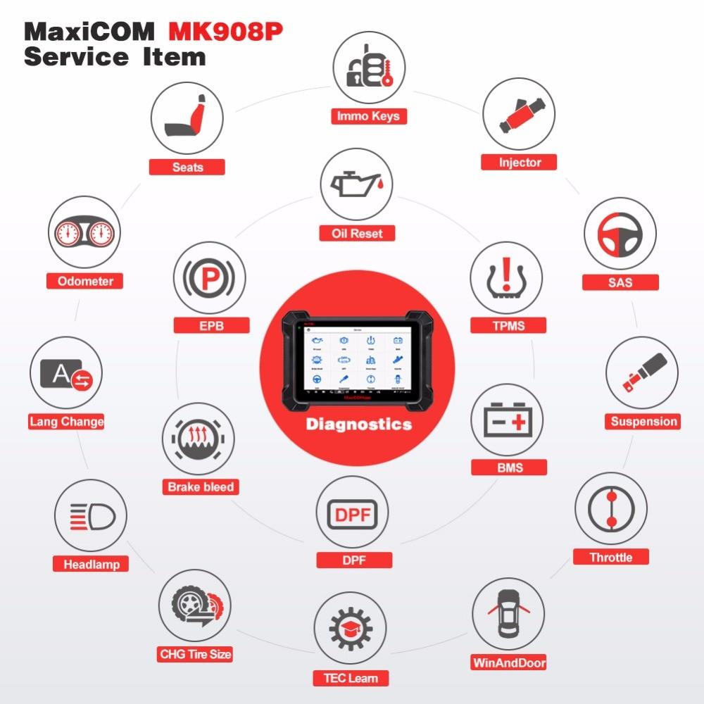 Autel MaxiCOM MK908P OBD2 Car Diagnostic Tool 12 languages J2534  Programming ECU Tester Coding PK MS908 PRO MS908P OBD 2 Scanner