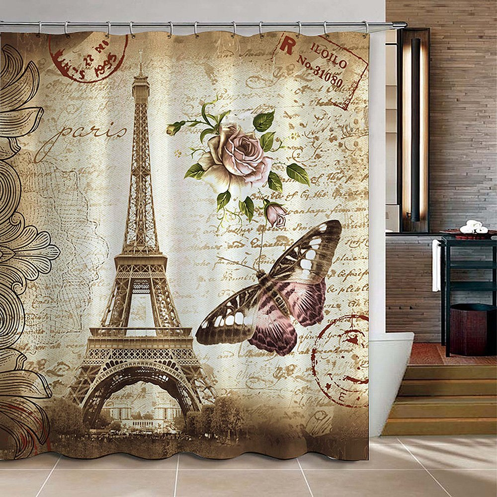 Retro Vintage Paris Eiffel Tower Waterproof Kids Bathroom Shower Curtain Butterfly Flower Pale Brown Polyester Fabric