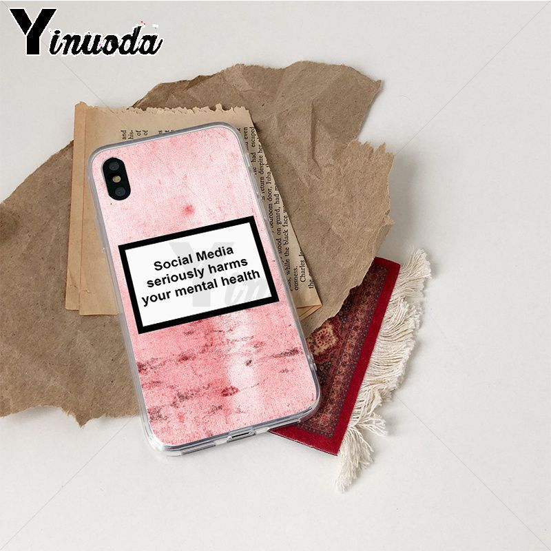 Image 4 - Yinuoda Social Media seriously harms your mental Pattern TPU Soft Case for iPhone X XS XR XSMax 6 6S 7 7plus 8 8Plus Xs 5 5s-in Half-wrapped Cases from Cellphones & Telecommunications