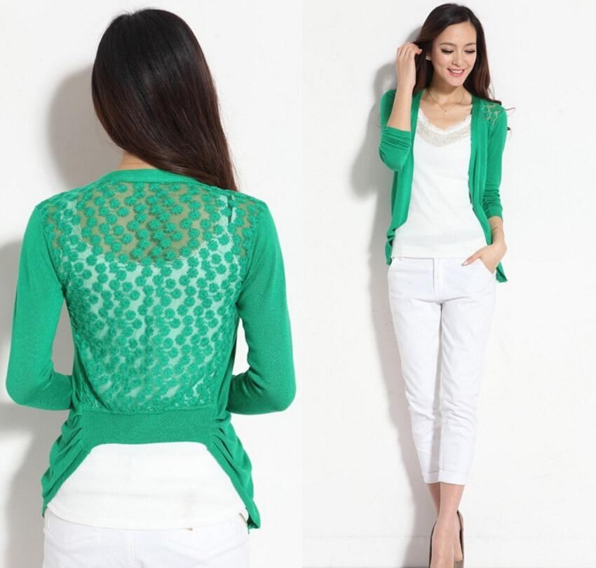 Spring Sweater Fashion Women Cardigan Lace Sweet Candy Pure Color Sexy Lady Slim Crochet Knit Sweater Cardigan Coat
