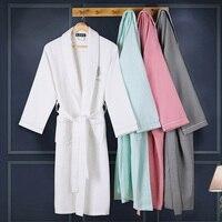 XMS Brand New Waffle Bathrobe Men 100 Cotton Terry Male S Robe Nightgown Gentleman Sleepwear Long