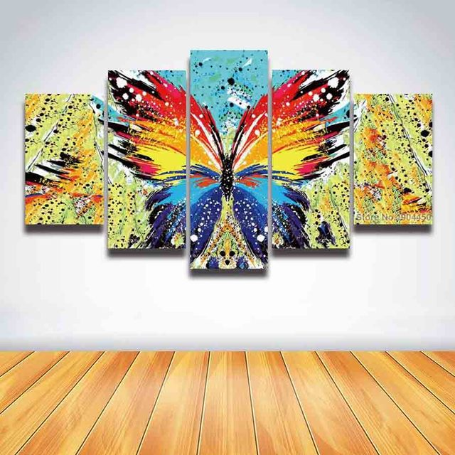 5 Panel Canvas Wall Art Abstract Butterfly Wings Painting Colorful ...