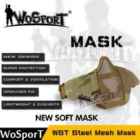 WoSporTร้อนยุทธวิธีปืนหน้ากากครึ่งล่างใบหน้าโลหะเหล็กสุทธิล่าสัตว์ป้องกันp ropสำหรับ