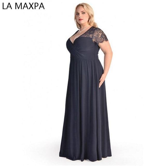 Женщины Большой Большой Плюс Размер Элегантный Сексуальный Вечер Макси Лонг Литтл черный Красный Партии Шнурка Платья 2xl 3xl 4xl 5XL 6XL Одежда платье