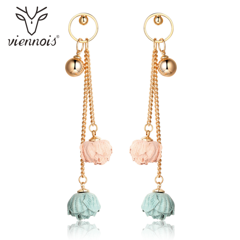 Viennois 2018 New Arrival Gold Color Alloy Dangle Earrings For Women Soft Suede Surface Flower Drop Earrings Jewelry