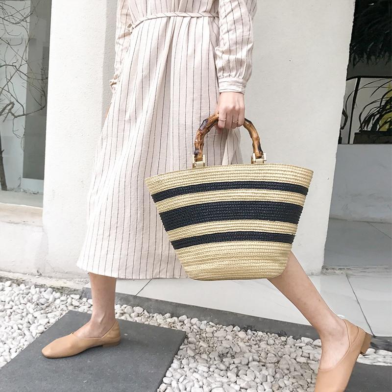 fashion bamboo handle women handbags casual striped bucket bag large capacity rattan straw bags wicker summer beach travel purse