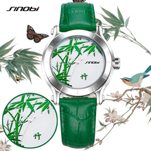 SINOBI New Green Bamboo Women Watches Chinese Brand Fashion Ladies Leather Wristwatch Female Waterproof Clock Femmes Horloge G22
