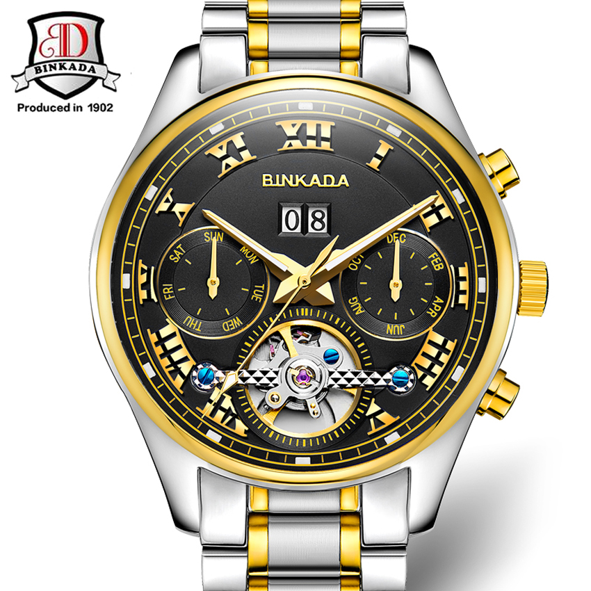 Fashion Luxury Brand BINKADA Men Wacth Tourbillon Hollow Calendar Automatic Mechanical Watch Mens Watches With Original Box Gift 2016 brand steel military fashion self wind relogios automatic watches mechanical tourbillon watch men tourbillon clock with box