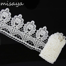 Misaya 2 yards 100% Polyester Embroidery Spikes Lace Fabric,DIY Wedding Dress White Flower Manual Wedding Lace Trim(China)