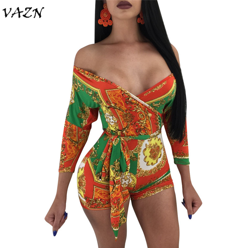VAZN New Arrive Best Quality 2018 Summer Sexy Club Women Playsuits Print Off The Shoulder Sashes Playsuits Women 3394