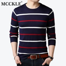 MCCKLE O-Neck Pullover Men Brand Clothing 2018 Autumn Winter New Arrival Cashmere Wool Sweater Men Casual Striped Pullovers Men(China)