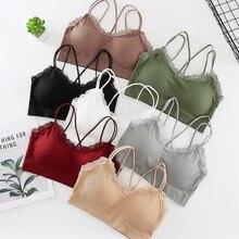 sujetadores para mujeres Versatile Sleeveless Thread Cotton Off Shoulder  Solid Color Sexy Strap Cross Top Tube
