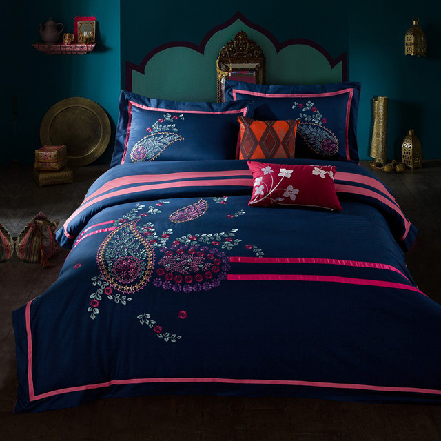 Egyptian Cotton Vintage Bedding King Size Quilted Bedspreads Navy Comforter  Set Handmade Quilt Personalized Bed Sheets
