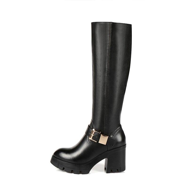 Egonery Envío Botas Cuero Cuadrado De Black Tacón Mujeres Zapatos Super Gratis Cremallera Mujer Plataforma Genuino Punta Redonda Invierno Las Alta rwrA4aqx