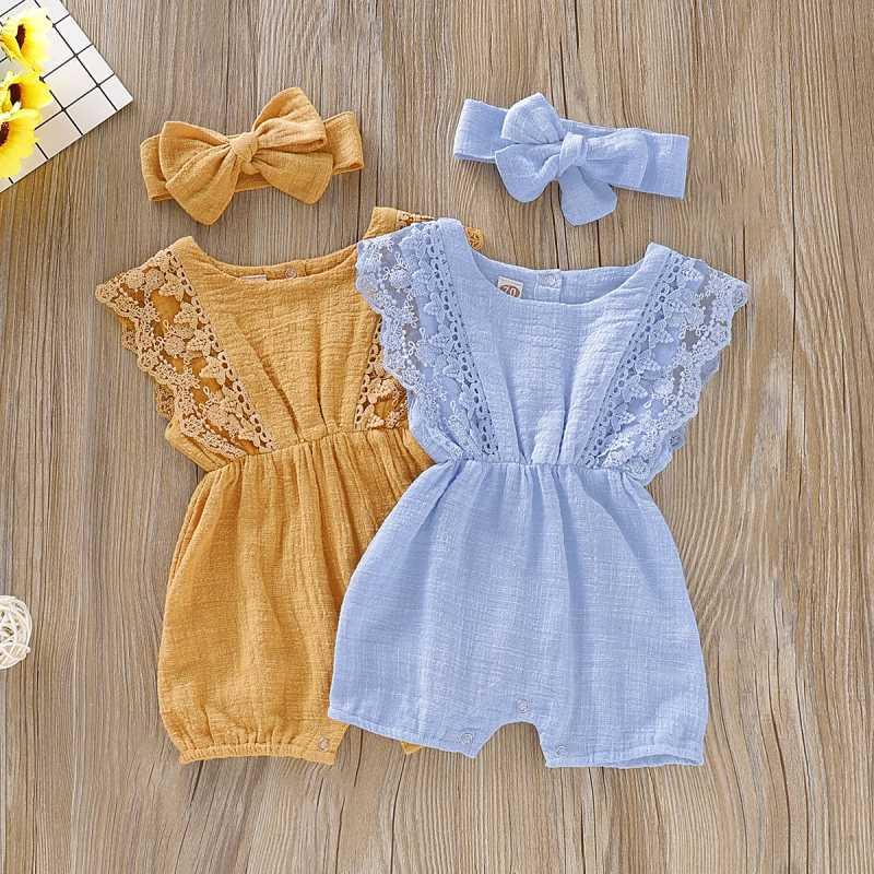 Yaz bebek kız tulum yenidoğan bebek giysileri yürümeye başlayan parlama kollu katı dantel tasarım Romper tulum ile kafa bandı tek parça