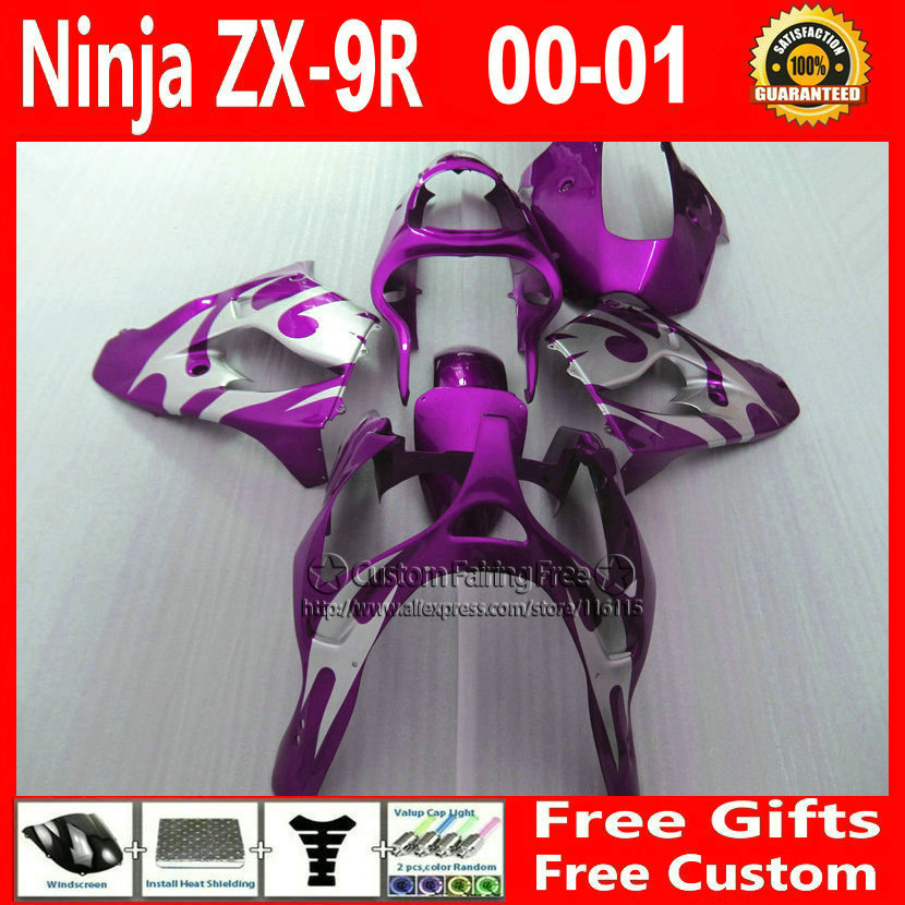 New! Motorcycle fairings for Kawasaki body parts  2000 2001 ZX9R 00 01 ZX9R Ninja customize free  silver purple bodykit+7Gifts compression mold bodykit for kawasaki fairing kits zx9r 2000 2001 zx 9r 00 01 ninja customize green purple body parts 7gifts