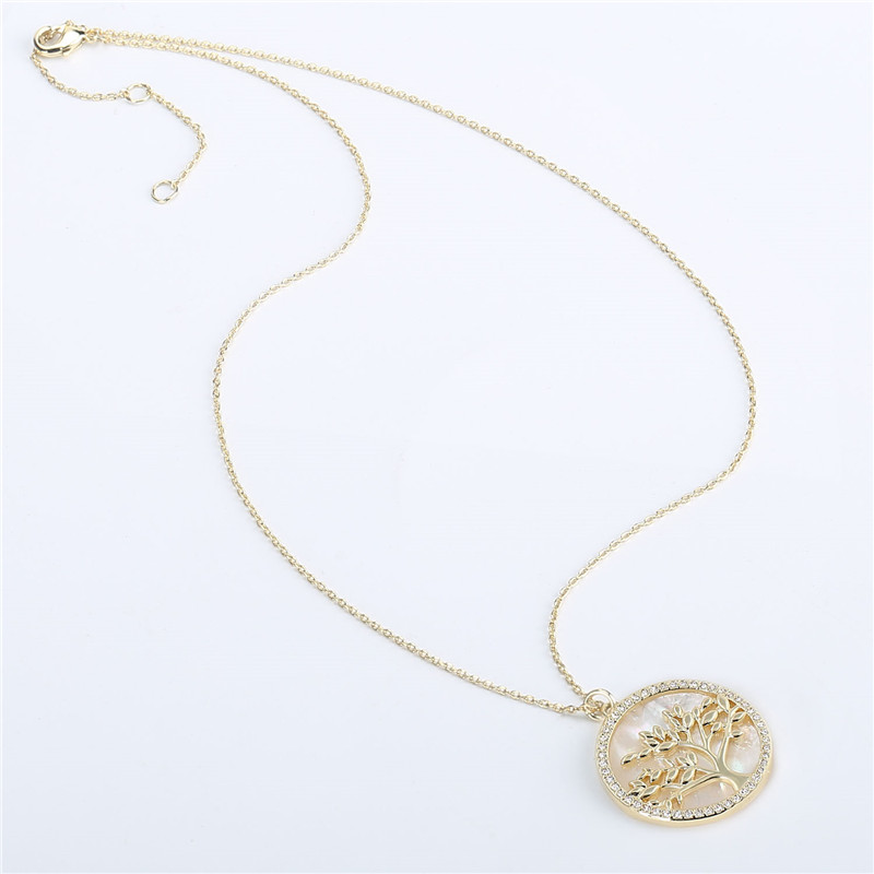 Popular Jewelry Gold Plated Brass CZ Pearl Shell Pendant Necklace Women (2)