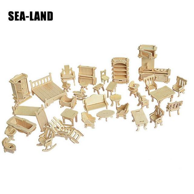 Jouets pour enfants De 3D puzzle en bois 34 pièces/ensemble Miniature 1:12 mobilier de maison de poupée Pour Dollsmini bricolage Bâtiment Un Modèle Pour Enfants Cadeau