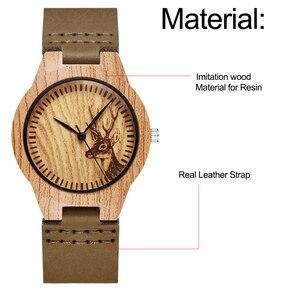 Image 5 - Moda imitacja drewniany zegarek kobiety miękki skórzany pasek moda montre femme unikalny projekt łosia analogowy zegarek kwarcowy relogio
