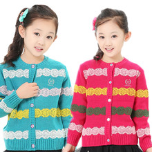 Winter Wool Thicken Girls Cardigan Knit Sweater Stripe Sweaters Autumn Kids Casual Knitwear Coats Toddler Clothing