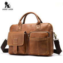 2019 Vintage Men's Briefcase Genuine Leather Crazy Horse Leather Messenger Bag Tote Male Laptop Bag Men Business Travel Bag